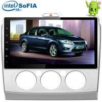 Штатная магнитола Ford Focus 2 (без климата) LeTrun 1680 Android 5.1 Intel экран 10,2 дюйма